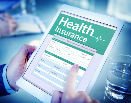 men health: Digital Health Insurance Application Concept Stock Photo