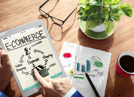 business solution: Digital Online Marketing E-Commerce Office Working Concept Stock Photo