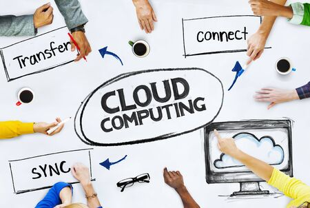 social gathering: Business People Pointing to Cloud Computing Concepts Stock Photo