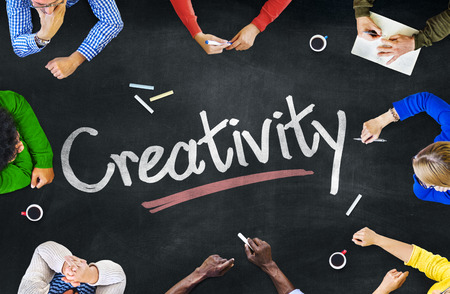 creative idea: Multi-Ethnic Group of People and Creativity Concepts Stock Photo