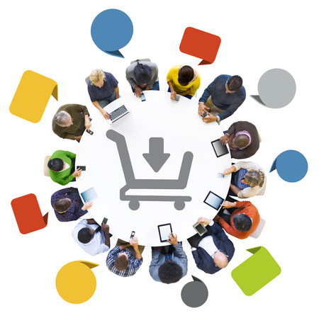 Group of People Using Digital Devices with E-Commerce photo