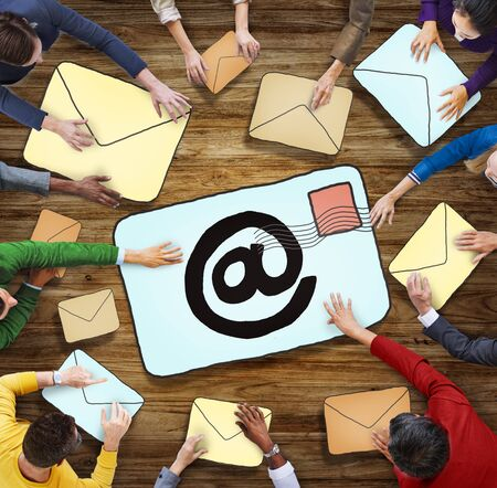 multiethnic: Aerial View of People and E-Mail Concepts