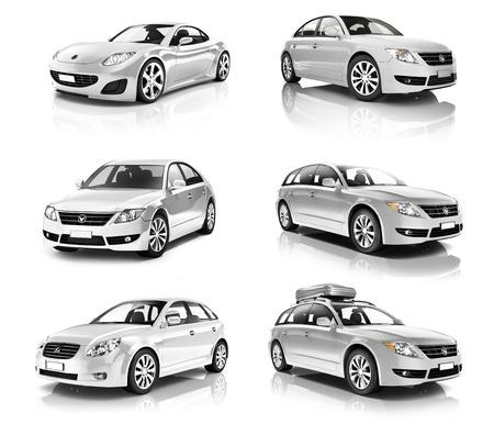 3D collectie van luxe Silver Sports Car Stockfoto - 35339716