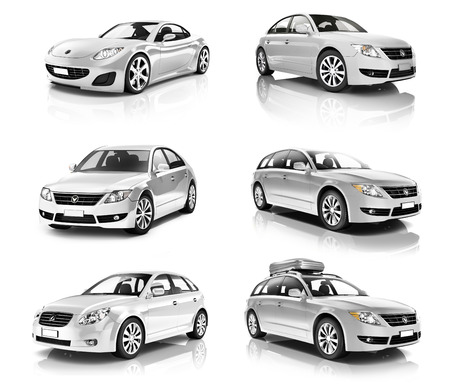 isolated on a white background: 3D Collection of Luxury Silver Sports Car Stock Photo