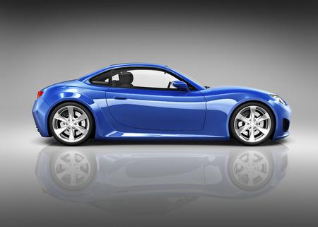 高級青のスポーツ車