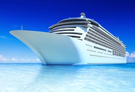 white  beach: Cruise ocean and blue sky. Stock Photo