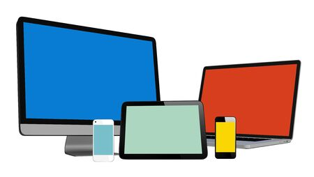three dimension shape: 3D Collection of Digital Devices