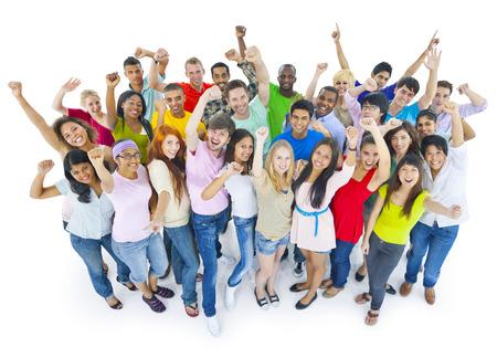 Grote groep mensen vieren Stockfoto