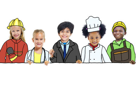 occupation: Group of Children with Professional Occupation Concepts Stock Photo