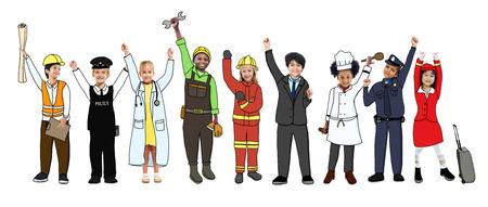 Multi-etnische groep van kinderen met diverse beroepen Concept