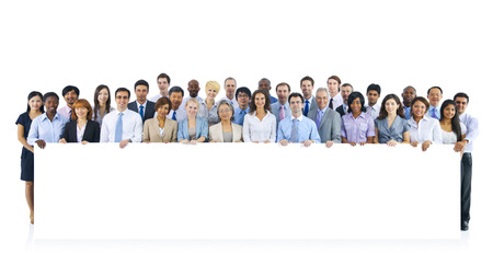 business person: Large Group of Business People Holding Board