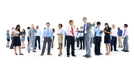 people on computers: Large Group of Business People Talking Stock Photo