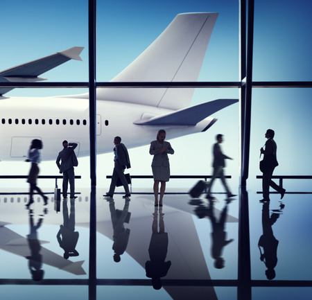 flight mode: Silhouette Group of Business People with Airplane Concept