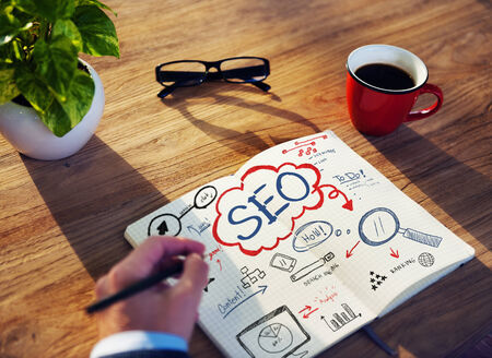 Businessman Sketching About SEO Concept photo