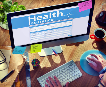 Man Working Computer Health Insurance Concept Stock Photo