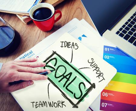 Businessman Notepad Goals Ideas Support Teamwork Concept photo