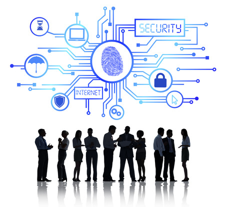 Sillhouettes of Business People Working and Network Security Concept Stock Photo