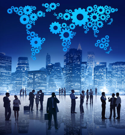 professional: Group Of Business People Standing Outdoors In An Urban Scene WIth Blue Cartography Made Out Of Gears Above Them. Stock Photo