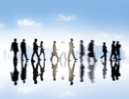 large group of business people: Large Group of Business People Meeting in Town Stock Photo