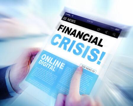 financial crisis: Digital Online News Headline Financial Crisis Concept Stock Photo
