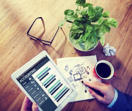 social communication: Businessman Accounting Network Social Communication Analysis Concept