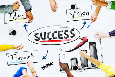 Hands on whiteboard with Success Concept Stok Fotoğraf - 35340527