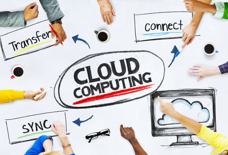 multiethnic: Multi-Ethnic Hands Pointing Cloud Computing Stock Photo