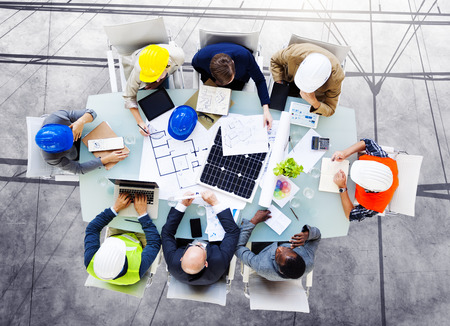 diverse business team: Safety Architects Design Meeting Concept Stock Photo