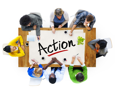 Aerial View with People and Text Action Stock Photo