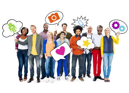 relating: Group Of Happy Multi-Ethnic People Holding Speech Bubbles With Symbols Relating To Social Network