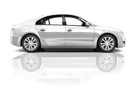 Side view studio shot of white car. 스톡 콘텐츠
