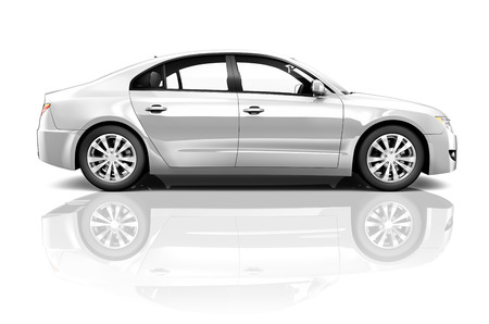 Side view studio shot of white car. Stock Photo
