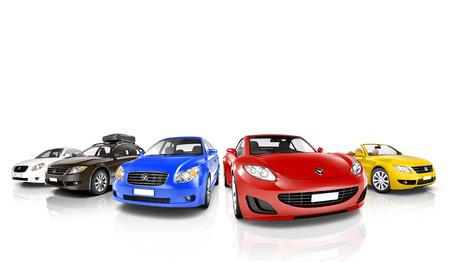Studio shot van kleurrijke Auto's in een rij Stockfoto