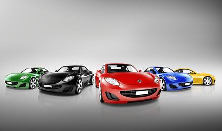 Multi Colored Three Dimensional Modern Cars