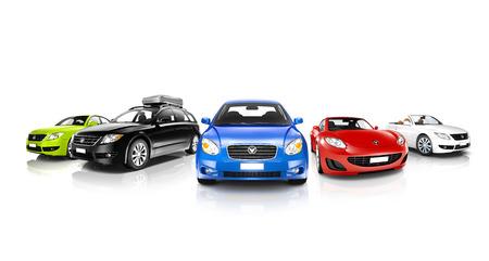 다채로운 일반 자동차의 스튜디오 샷 스톡 콘텐츠
