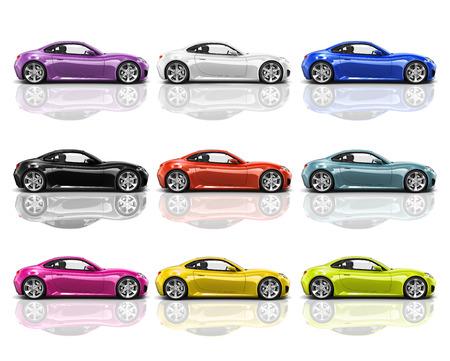 Colección de multicolores 3D modernos Coches