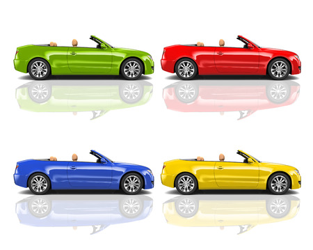 means of transport: Collection of Multicolored 3D Modern Cars Stock Photo
