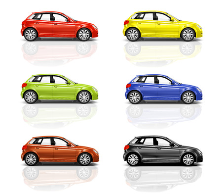 side: Collection of 3D Hatcback Cars Stock Photo