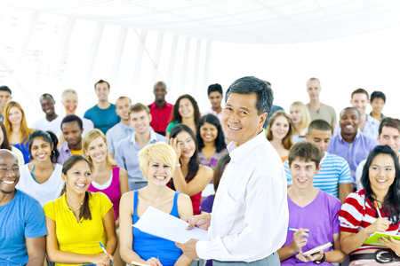 asian teacher: Teacher and large group of student in Lecture room