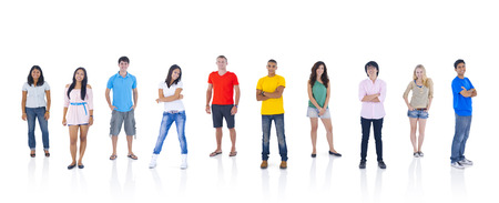 abreast: Group of People Standing Stock Photo