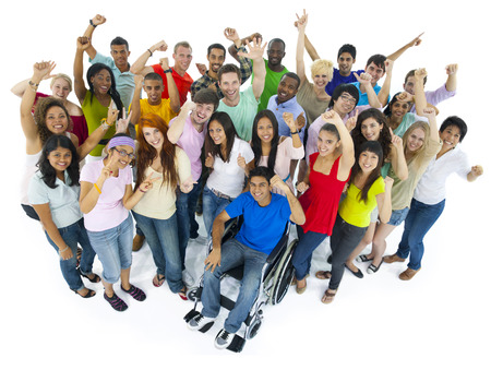 funny people: Large Group of People Celebrating Stock Photo