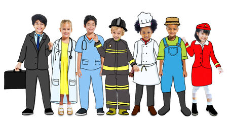 Multiethnic Group of Children with Future Career in Photo and Illustration illustration