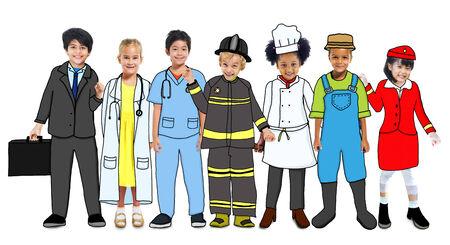 Multiethnique groupe d'enfants avec future carrière dans Photo et Illustration