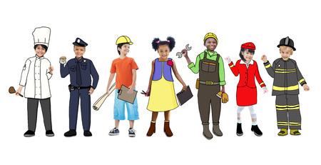 elementary age: Children Wearing Future Job Uniforms