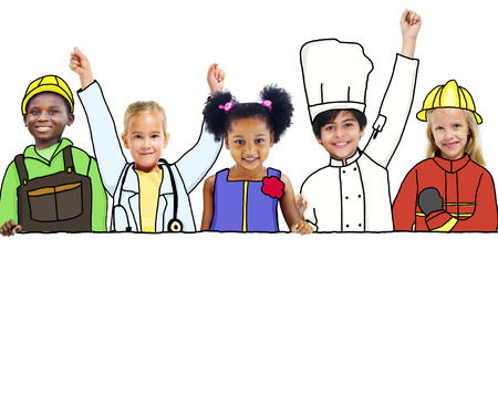 Happy Children and Dream Job Concepts and Copy Space photo
