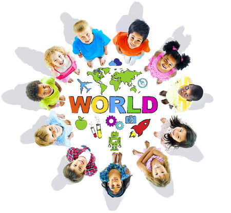 people looking up: Multi-Ethnic Children with Text World and Related Symbols