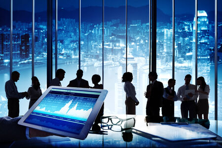 global communication: Silhouette Group of Business People Discussion Stock Exchange