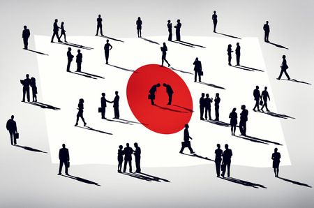 social grace: Silhouette Group of People Global Business Japan Concept