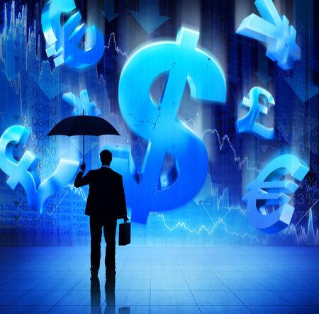 Businessman on Fianacial Crisis Stock Photo