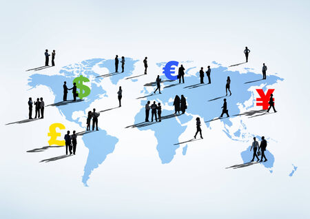 global finance: Global Finance Themed Cartography With Multi-Ethnic Business People On It Stock Photo